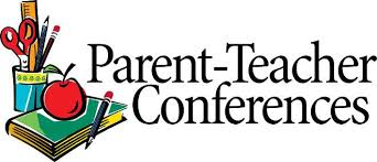 clipart of cup containing scissors, ruler, and pencils next to a book with a pencil and apple. Words say Parent-Teacher Conferences