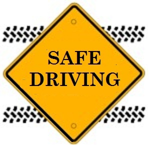 clipart of a yellow road sign with the words safe driving. In the background are black tire tracks.