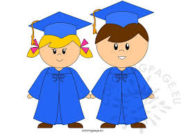 clipart of two young graduates in blue caps and gowns