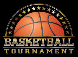 Black background with half of a basketball and the words Basketball Tournament