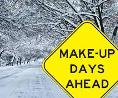a snowy winter scene with a road sign that says Make-up days ahead