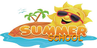 Clipart of an island with a palm tree and a large sun wearing sunglasses with the words summer school